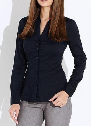 Блуза рубашка темно синяя