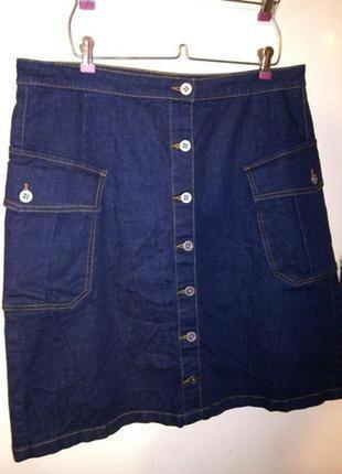 Стрейч,джинсовая,классная,синяя юбка-трапеция,на пуговицах,с карманами,большого размера