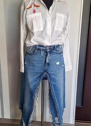 Оригинальная джинсовая юбка двойная мини-макси 100% коттон