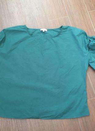 Натуральная блузка , на рукавах бантик