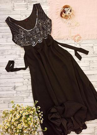 Длинное вечернее блестящее платье в пайетки большого размера нарядное simple be