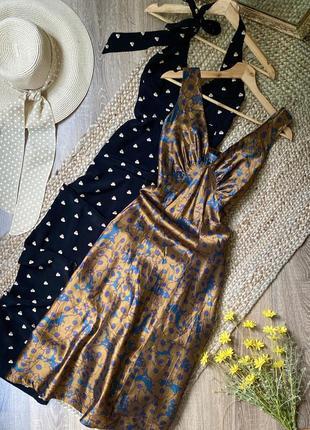 Коричневое шелковое платье миди с синим цветочным принтом
