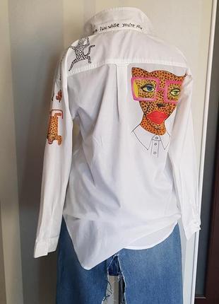 Эксклюзивная рубашка белая с росписью и идеей 100% коттон