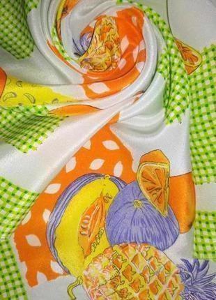 """Нежный шелковый шейный платок""""фрукты"""" аксессуар для сумочки"""