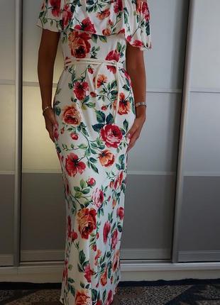 Платье макси с цветочным принтом happy