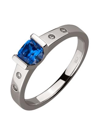 Стильное кольцо васильковый сапфир бриллианты золото 750 видео 18р