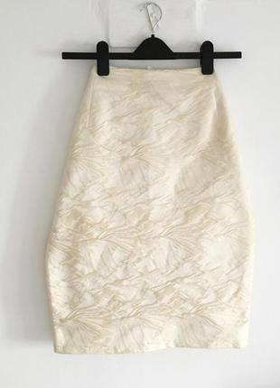 Идеальная кремовая юбка миди с объёмным принтом, стиль celine jil sander the row