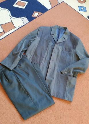 1=2 , замшевый комбинированный пиджак ,  жакет и штаны в подарок , куртка