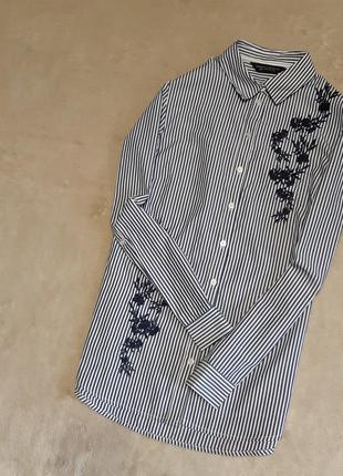 Рубашка в полоску с вышивкой длинный рукав размер 8 dorothy perkins