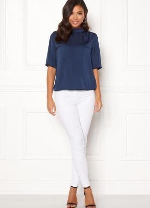 Rut&circle блуза чорна атлас сатин на короткий рукав