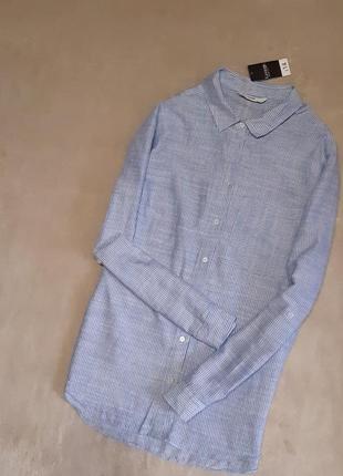 Новая с биркой лёгкая рубашка хлопок в мелкую полоску длинный рукав размер 16 george