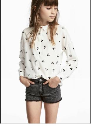 Стильная рубашка,блузка,с мики маусом,вискоза,h&m