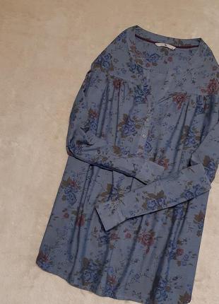 Красивая лёгкая блуза хлопок в цветах принт длинный рукав размер 16 tu