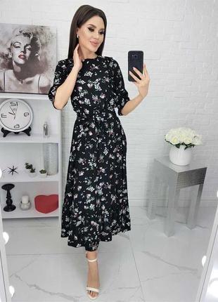 Платье цветочный принт штапель