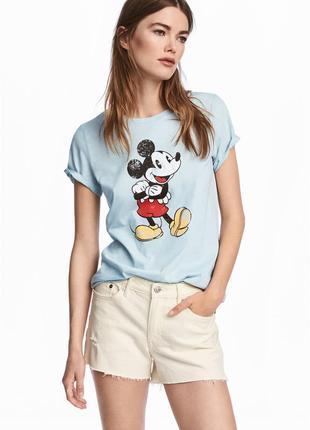 H&m футболка принт мики микки маус mickey mouse
