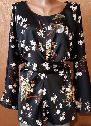Шикарная атласная блузка завязки принт цветы длинный рукав батал размер 22-24 missguided