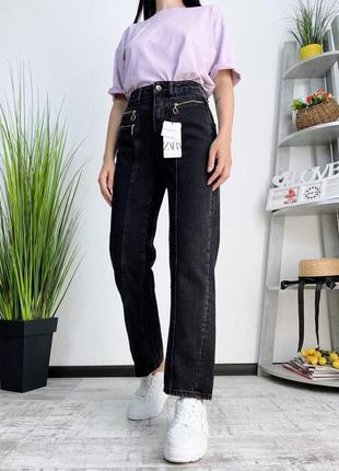 Новые джинсы высокая посадка zara плотные в винтажном стиле винтаж