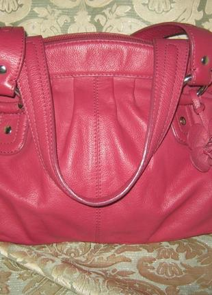 Англия сумка малиновая женская кожаная на молнии 100% натуральная кожа легкая объемная