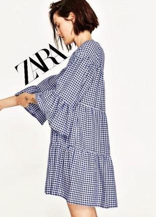 Брендовое платье в клетку от zara