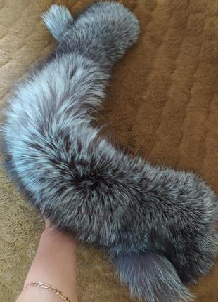 Опушка на капюшон чернобурка натуральный мех чернобурки комир