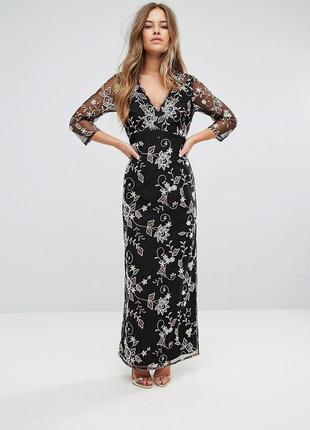 Шикарное длинное чёрное вечернее платье чехол с тиснением приоткрыта спина little mistress