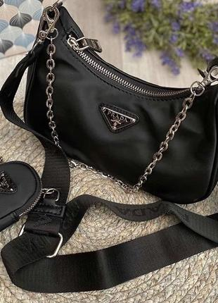Prada re-edition black nylon hobo bag сумка кроссбоди