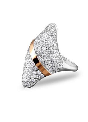 """Новое кольцо,""""ромб"""",на пломбе,серебро 925,золотот375,р.18,17,5, украина"""