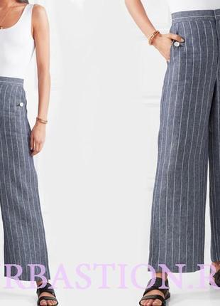 Брендовые натуральные широкие брюки в полоску