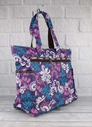 Сумка шоппер большая, пляжная, хозяйственная lesportsac 9802-09 фиолетовая, текстильная
