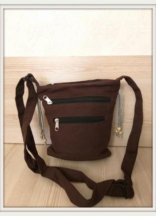 Тканевая сумка через плечо шоколад