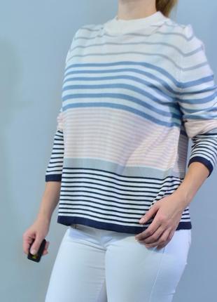 4462\30 тонкий свитер в разноцветную полоску classic xxl
