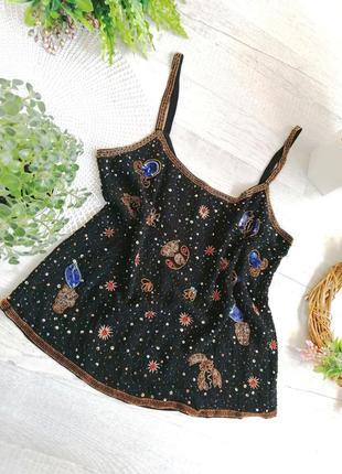 Нарядная  блузка с вышивкой пайетками и бисером вечерняя праздничная мака oasis
