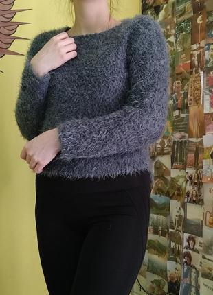 Свитер травка серый свитерок мягкий