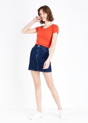 New look. товар из англии. оранжевая футболка с круглым вырезом. на наш размер 44/46