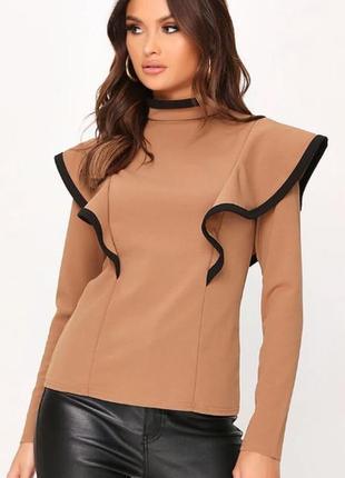 Isawitfirst. англия. блуза в палитре каппучино с потрясающими воланами