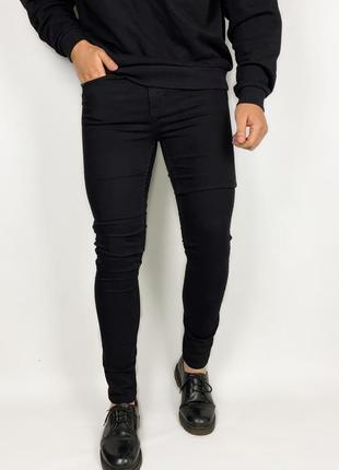 New look man stretch skinny jeans чёрные зауженные мужские джинсы
