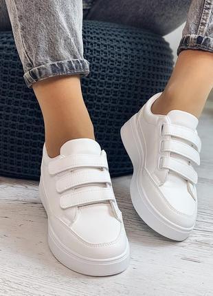 Кроссовки белые на липучках, платформа 3,5 см
