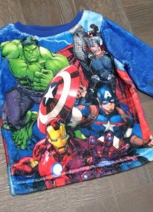 Кофточка мягусенькая с принтом супер героев, marvel.