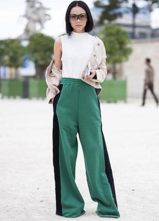 Супер штани зелені з лампасами кльош