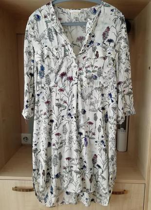 Платье рубашка из вискозы в цветочный принт