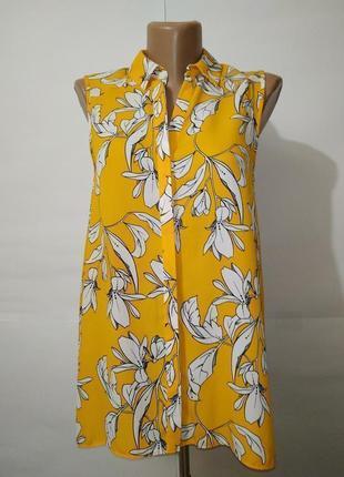 Блуза желтая новая в белые цветы dorothy perkins uk 10/38/s