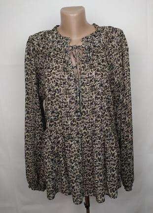 Блуза натуральная шикарная в принт рюши next uk 12/40/m