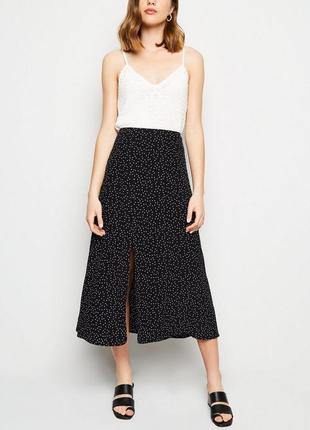 Чёрная миди юбка в горошек new look, новая с этикеткой