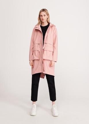 Скидка только 11.08 розовое пальто плащ парка куртка пудровая