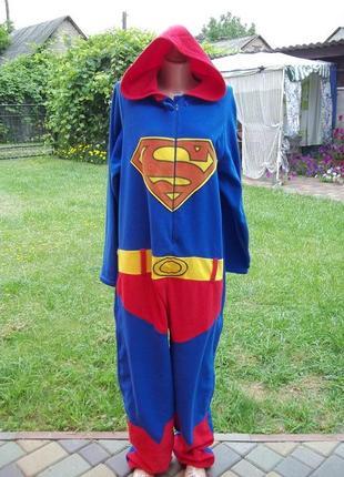 (50 / 52 р) superman флисовый комбинезон пижама кигуруми мужской кігурумі