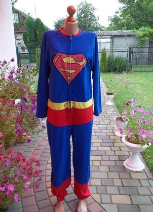 ( 46 / 48 р) superman флисовый комбинезон пижама кигуруми мужской кігурумі