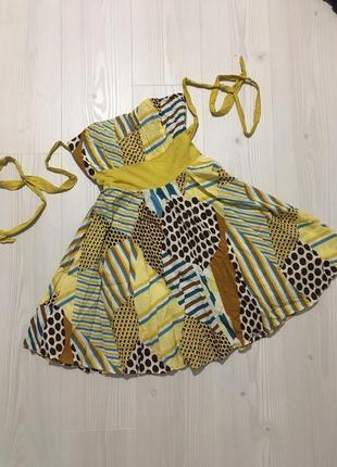 Яркое платье бюстье в стиле стиляг солнце-клёш