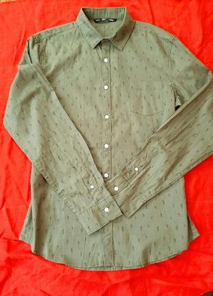 Стильная фирменная мужская рубашка сорочка с длинным рукавом bershka