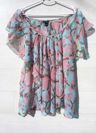 Блузка h&m с воланами рюшами жабо разноцветная цветочный принт полупрозрачная