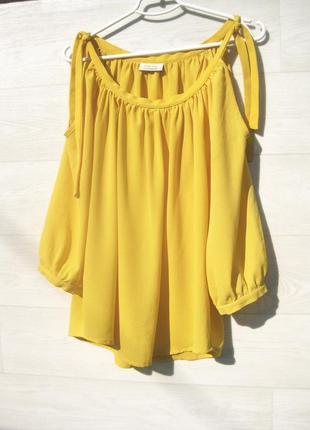 Блузка one two luxzuz жёлтая с длинным рукавом открытые плечи свободная